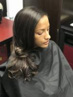 Long hair styling session using the Silkout method